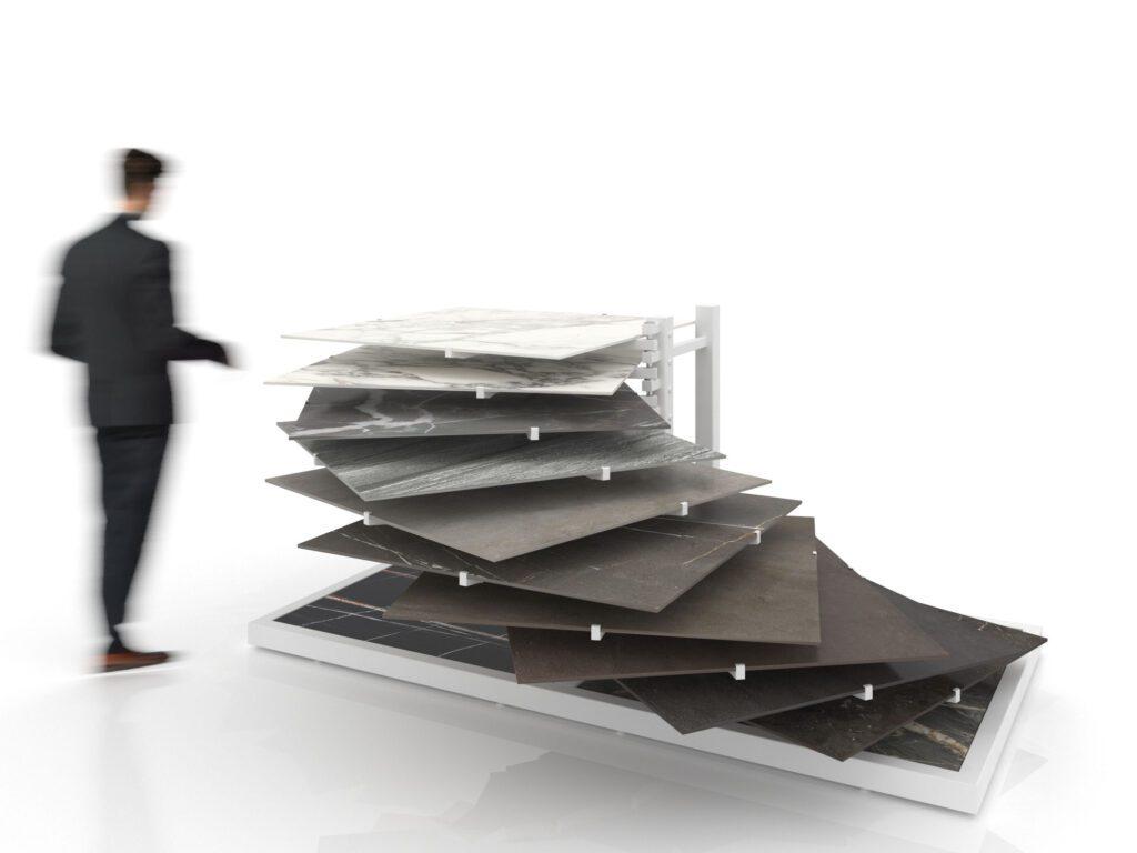 Komori ist das neue Display für Bodenbeläge von INSCA. Setzen Sie in Ihrem Showroom besondere Akzente