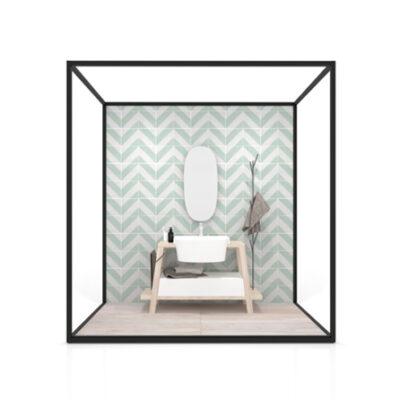 Ambiente para la exposición de azulejos Isla Lineal 240x120